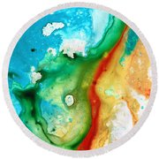 Colorful Abstract Art - Captured - By Sharon Cummings Round Beach Towel
