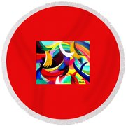 Colorful Abstract Art Round Beach Towel