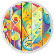 Colorful Abstract Round Beach Towel