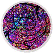 Colorful Abstract Rose  Round Beach Towel