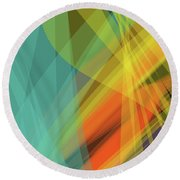 Colorful Abstract Vector Background Banner, Transparent Wave Lin Round Beach Towel