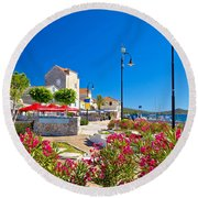 Colorful Adriatic Town Of Rogoznica Round Beach Towel