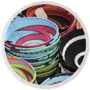 Colorful African Wire Bowls Round Beach Towel