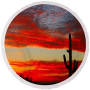 Colorful Arizona Sunset Round Beach Towel