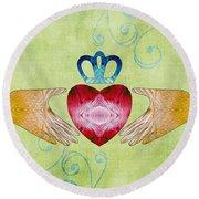 Colorful Art - Friendship - Sharon Cummings Round Beach Towel by Sharon Cummings