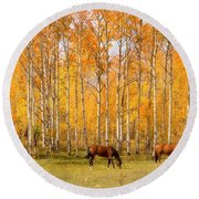 Colorful Autumn High Country Landscape Round Beach Towel