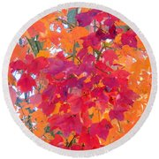 Colorful Autumn Leaves Round Beach Towel