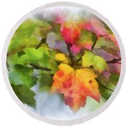 Colorful Autumn Leaves - Digital Watercolor Round Beach Towel