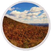 Colorful Autumn Panorama - West Virginia Round Beach Towel
