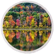 Colorful Autumn Reflections Round Beach Towel