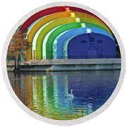 Colorful Bandshell And Swan Round Beach Towel