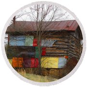 Colorful Barn Round Beach Towel