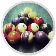Colorful Billiard Balls Round Beach Towel