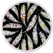 Colorful Black And White Leaves Round Beach Towel