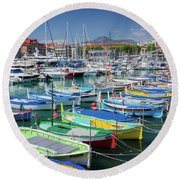 Colorful Boats Docked In Nice Marina, France Round Beach Towel