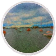Colorful Boats On Cloudy Day At Boothbay Harbor Round Beach Towel
