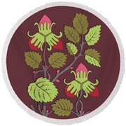Colorful Botanical Hand Drawn Strawberry Bush Isolated On Vinous Round Beach Towel