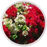 Colorful Bougainvilleas Round Beach Towel