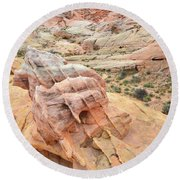 Colorful Boulder Above Wash 3 In Valley Of Fire Round Beach Towel