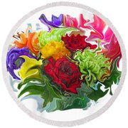 Colorful Bouquet Round Beach Towel