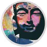 Colorful Buddha 2- Art By Linda Woods Round Beach Towel