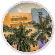 Colorful Building And Palm Trees Round Beach Towel