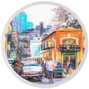 Colorful Buildings And Old Cars In Havana - V3 Round Beach Towel