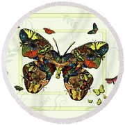 Colorful Butterfly Collage Round Beach Towel