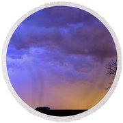 Colorful C2c Lightning Country Landscape Round Beach Towel