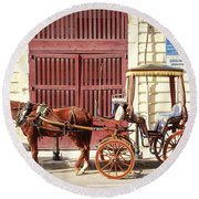 Colorful Cabs Of Malta Round Beach Towel