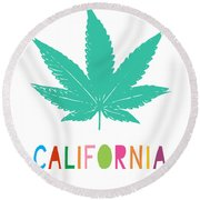 Colorful California Cannabis- Art By Linda Woods Round Beach Towel