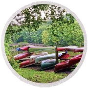 Colorful Canoes At Hungry Mother State Park Round Beach Towel