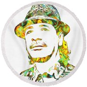 Colorful Carlos Santana Round Beach Towel