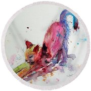 Colorful Cat Round Beach Towel