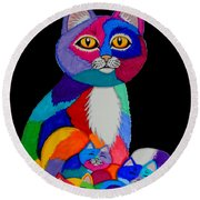 Colorful Cats And Kittens Round Beach Towel