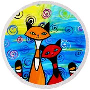 Colorful Cats Round Beach Towel