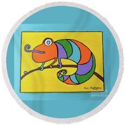 Colorful Chameleon Round Beach Towel