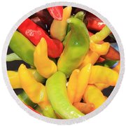 Colorful Chili Peppers  Round Beach Towel