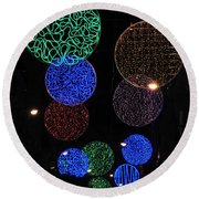 Colorful Christmas Lights Decoration Display In Madrid, Spain. Round Beach Towel