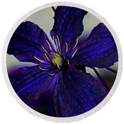 Colorful Clematis Round Beach Towel