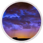 Colorful Cloud To Cloud Lightning Round Beach Towel