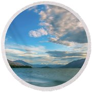 Colorful Clouds At Golden Hour On Lake Wakatipu At Glenorchy, Nz  Round Beach Towel
