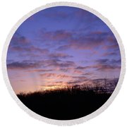 Colorful Clouds In The Sky Round Beach Towel
