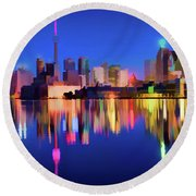 Colorful Cn Tower  Round Beach Towel