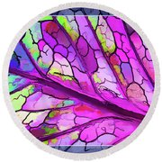 Colorful Coleus Abstract 3 Round Beach Towel