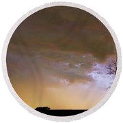 Colorful Colorado Cloud To Cloud Lightning Striking Round Beach Towel