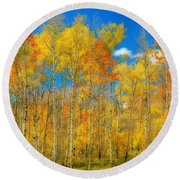 Colorful Colorado Fall Foliage Round Beach Towel