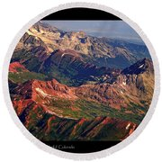 Colorful Colorado Rocky Mountains Planet Art Poster  Round Beach Towel