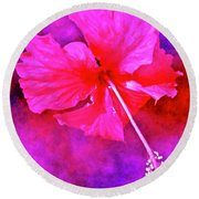 Colorful Cosmic Flower-hibiscus Round Beach Towel