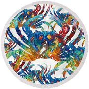 Colorful Crab Collage Art By Sharon Cummings Round Beach Towel
